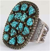 Old Pawn Navajo Turquoise 925 Silver Cuff Bracelet