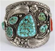 Navajo Turquoise Coral Sterling Silver Bracelet