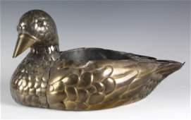 Sergio Bustamonte Brass Mixed Metals Duck Planter