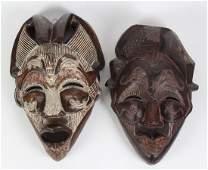 2 Tikar Copper Carved Wood African Masks Cameroon