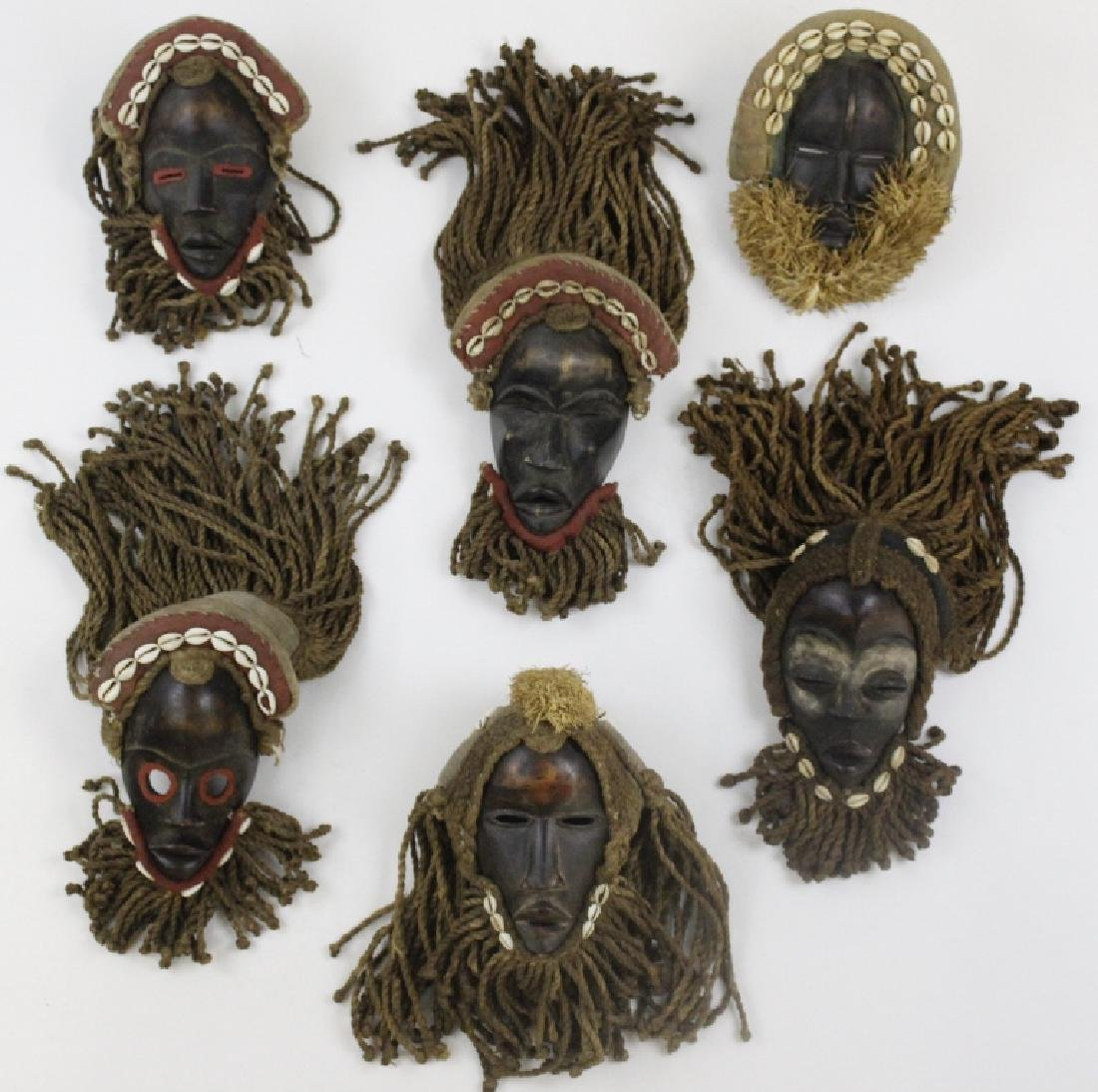 Lot of 6 African Liberian Dan Tribal Gle Ge Masks