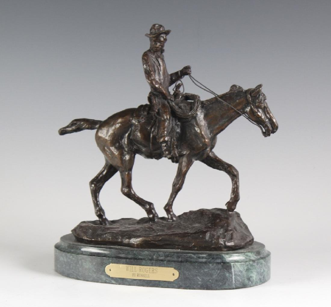 Will Rogers Western Cowboy Bronze Statue Russell