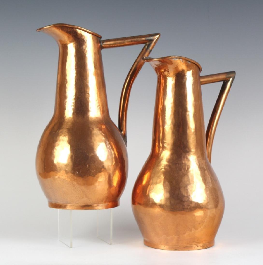 Pair Hand Hammered Copper Arts & Crafts Ewer Jug