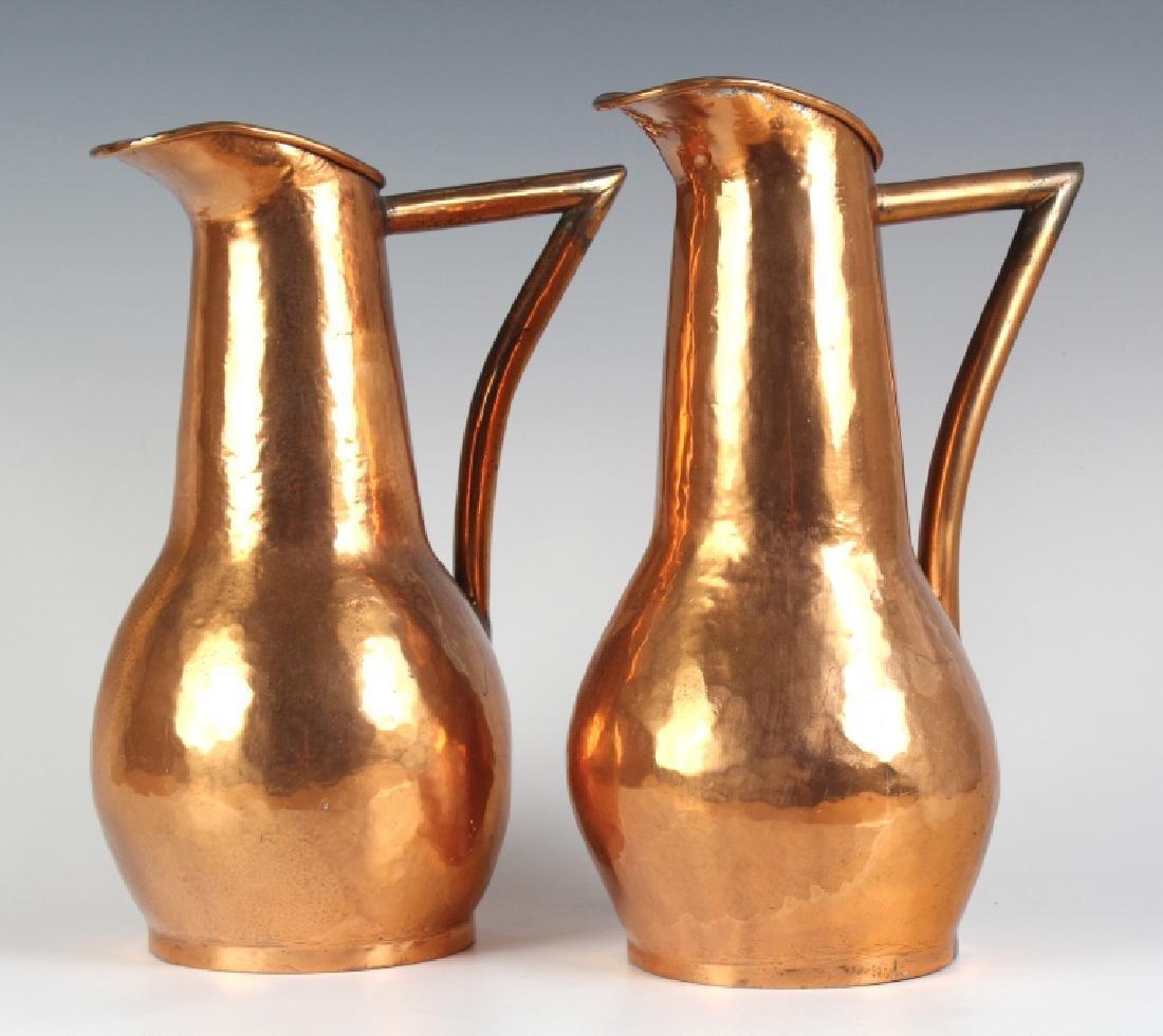 Pair Hand Hammered Copper Arts & Crafts Ewer Jug - 2