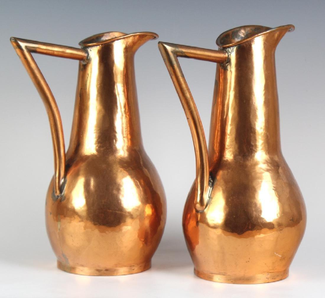 Pair Hand Hammered Copper Arts & Crafts Ewer Jug - 3