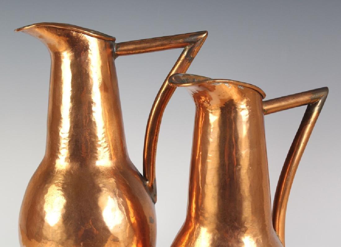 Pair Hand Hammered Copper Arts & Crafts Ewer Jug - 5