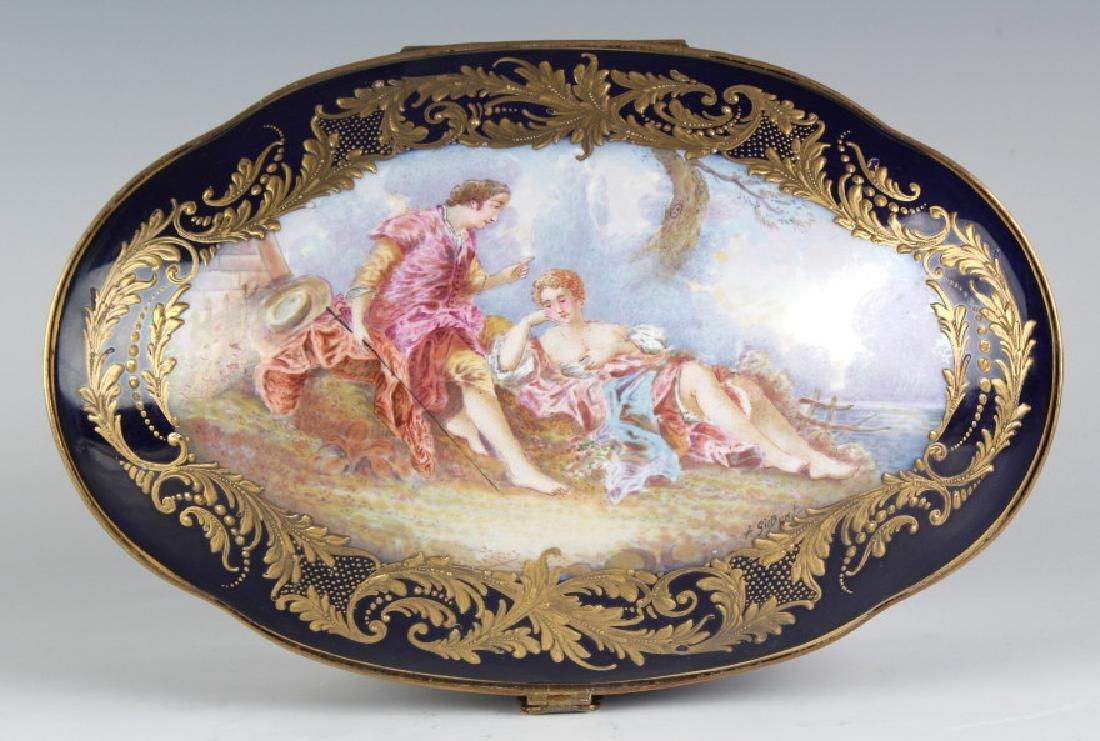 LARGE Sevres Style French Porcelain Casket Box