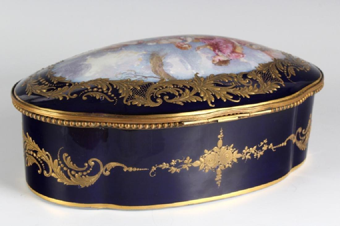 LARGE Sevres Style French Porcelain Casket Box - 4