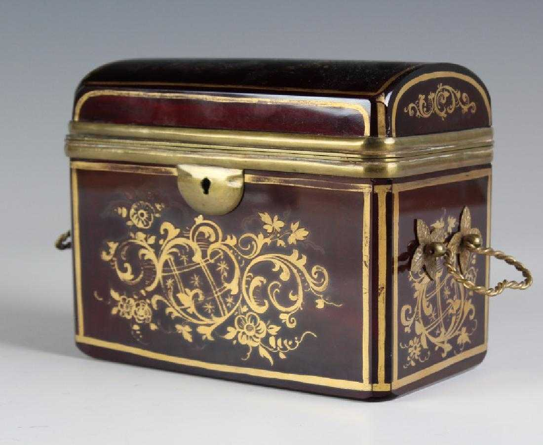 Antique Cranberry Red Gilt Glass Bronze Casket Box