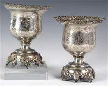 Pr Ottoman Empire Silver Etched Vases w/ Birds