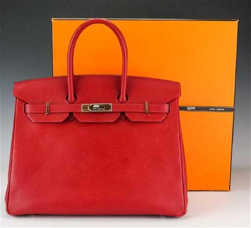 e88c4ae12d1a Hermes Rouge Garance Red Birkin Bag 35 cm Purse Handbag on LiveAuctioneers