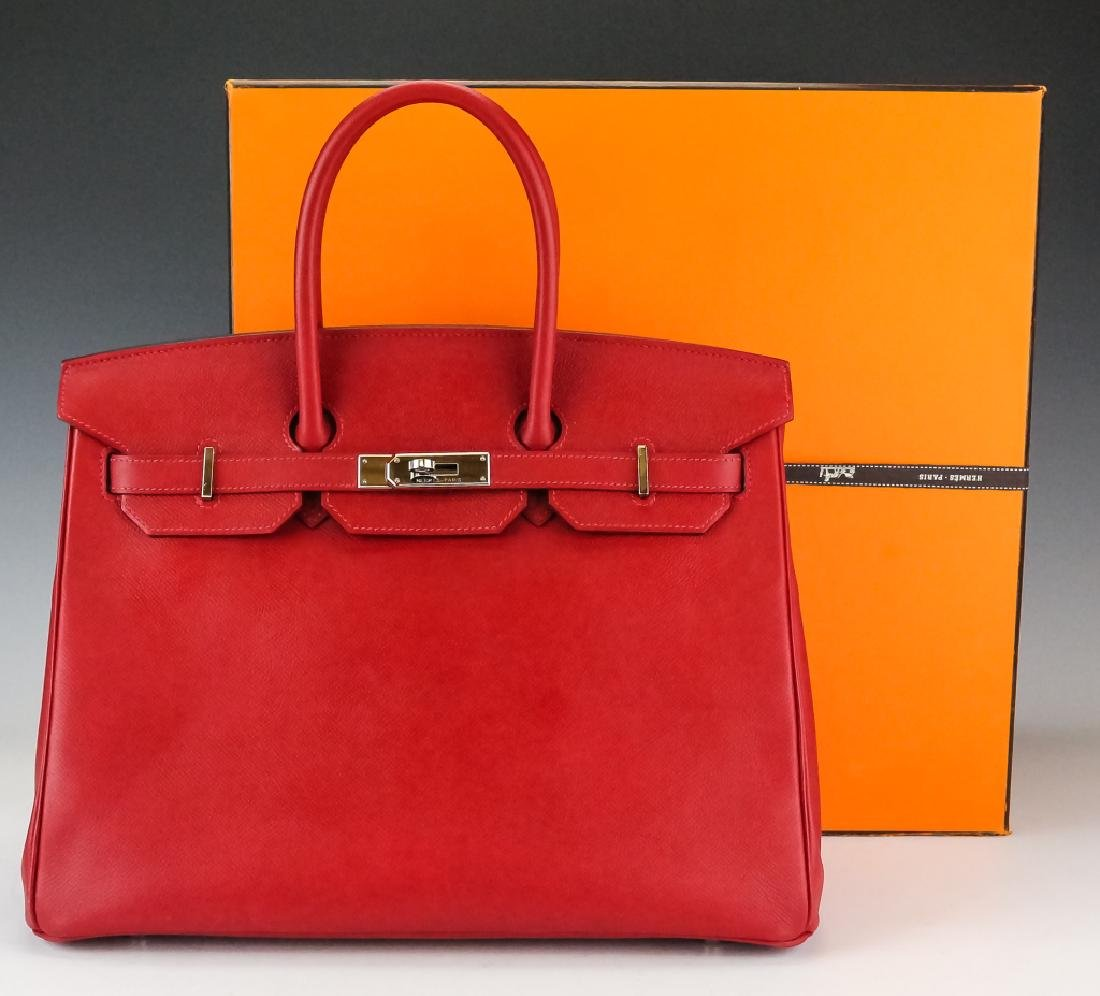 Hermes Rouge Garance Red Birkin Bag 35 cm Purse Handbag
