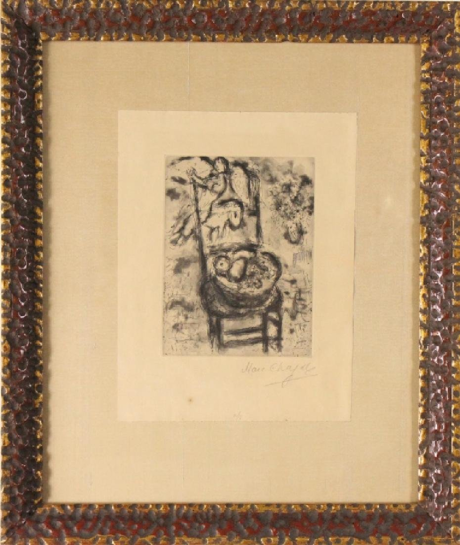 Marc Chagall Etching Of Fruit Chair & Angel HAND SIGNED