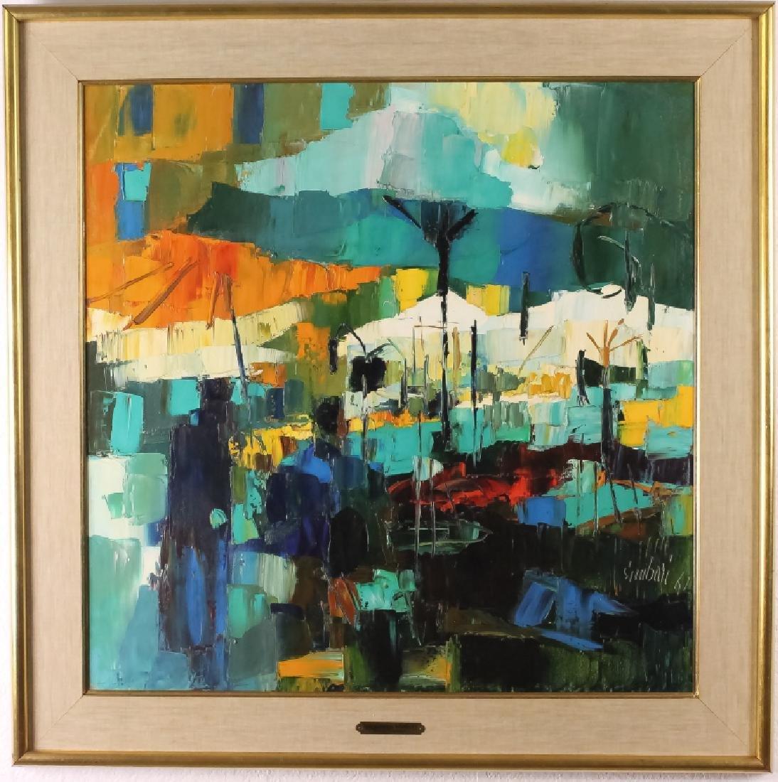 Nicola Simbari (1927-2012) Italian Market Oil Painting