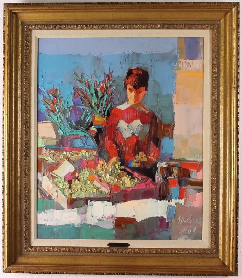 Nicola Simbari (1927-2012) Italian Female Oil Painting