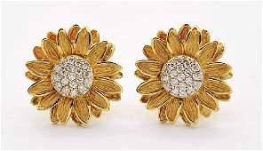 PR Designer SIGNED 14k Gold Diamond Sunflower Earrings