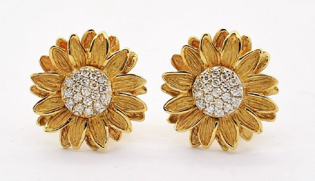 PR Designer SIGNED 14k Gold Diamond Sunflower Earrings