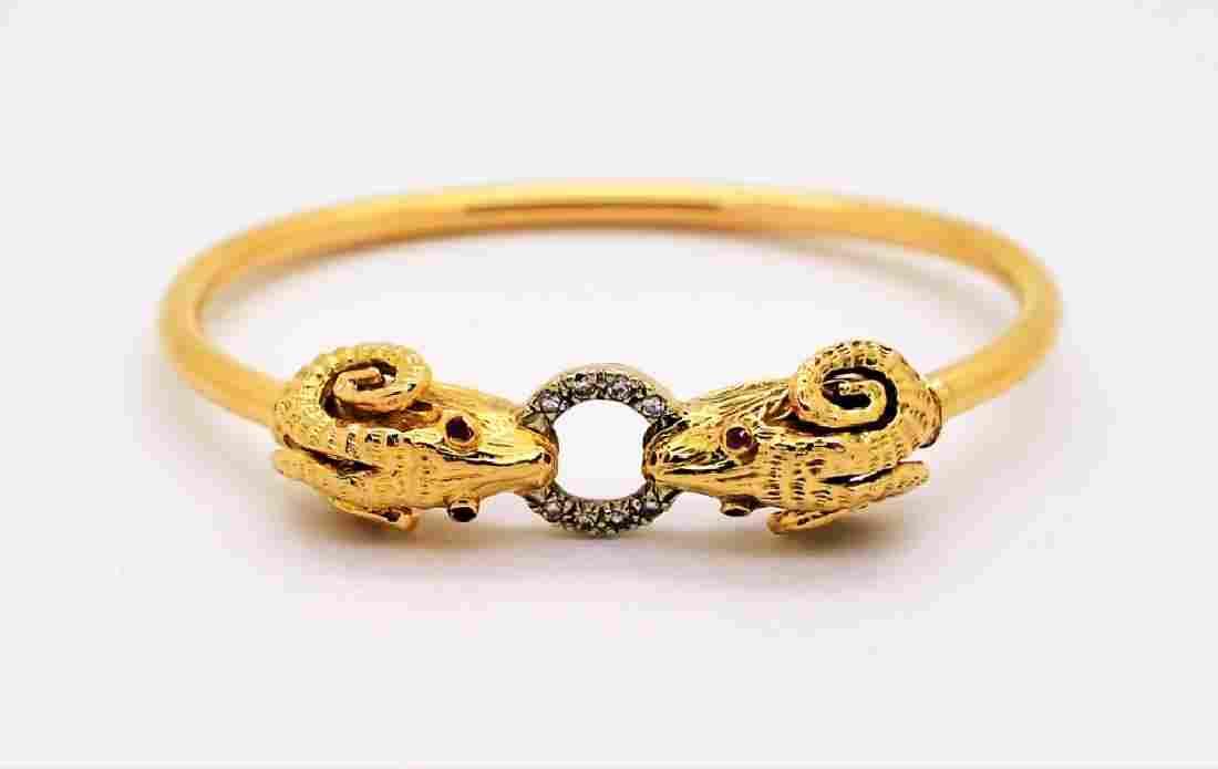 14k Gold Diamond & Ruby Rams Head Bangle Bracelet 16.4g