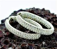 Pair 18K White Gold 6.33 Ct TW Diamond Hoop Earrings