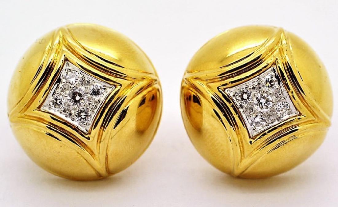 Van Cleef & Arpels VCA Diamond 18K Gold Dome Earrings