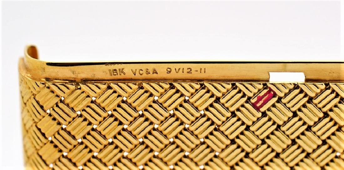 Van Cleef & Arpels VCA 18K Gold Basket Weave Card Case - 7