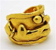 Jean Mahie 22K Gold French Abstract Sculpture Ring