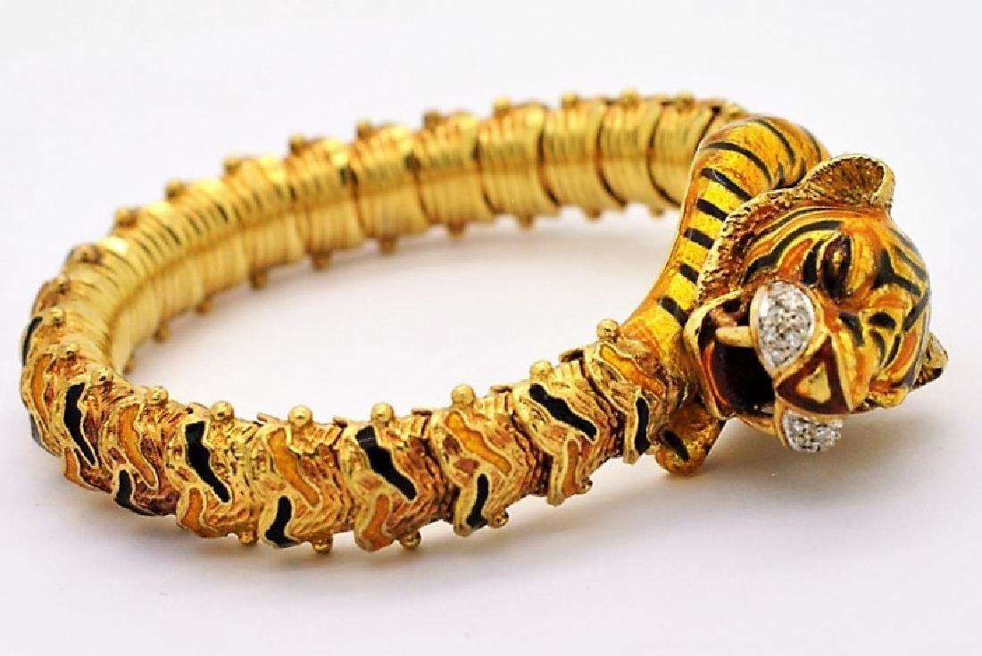 DESIGNER 18k Gold Enamel Diamond Tiger Bracelet