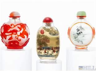 Chinese Reverse Painted Peking Glass Snuff Bottles