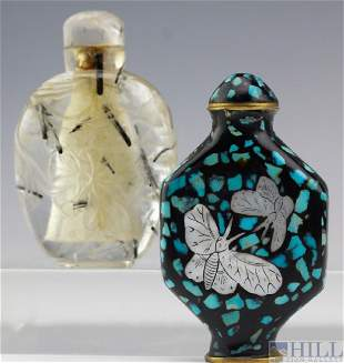 Chinese Rutilated Rock Crystal Gem Snuff Bottle