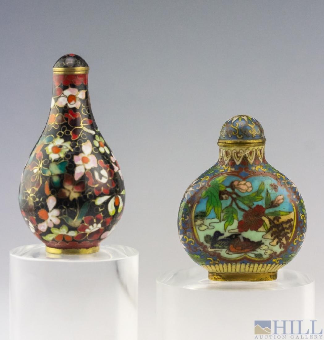Chinese 2 Antique Cloisonne Enamel Snuff Bottles