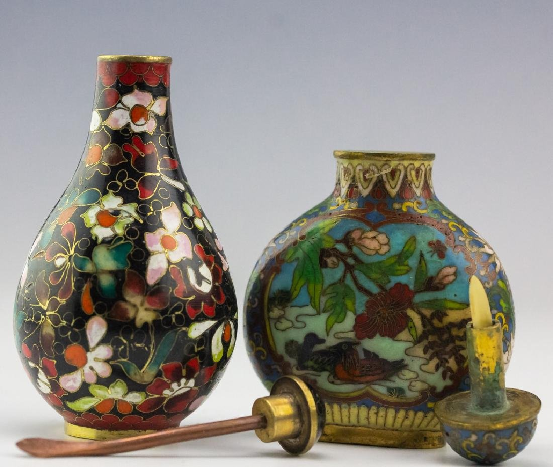 Chinese 2 Antique Cloisonne Enamel Snuff Bottles - 2