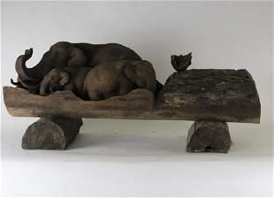 Japanese Meiji Elephant Family Wood Log Sculpture