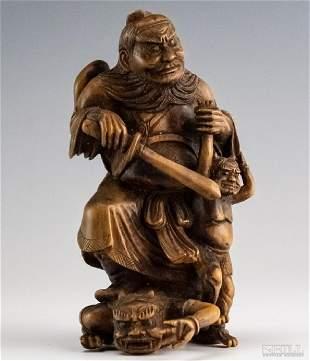Japanese Antique Meiji Period Carved Wood Okimono