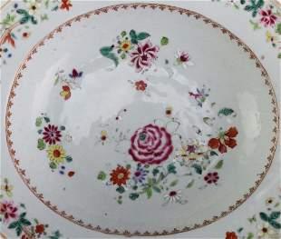 Chinese Antique 13 Porcelain Floral Shaving Bowl