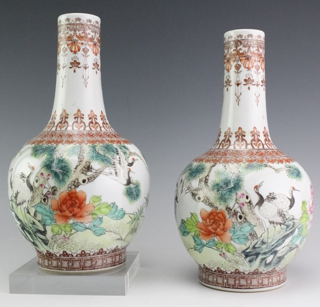 Chinese Export PAIR Famille Rose Porcelain Vases