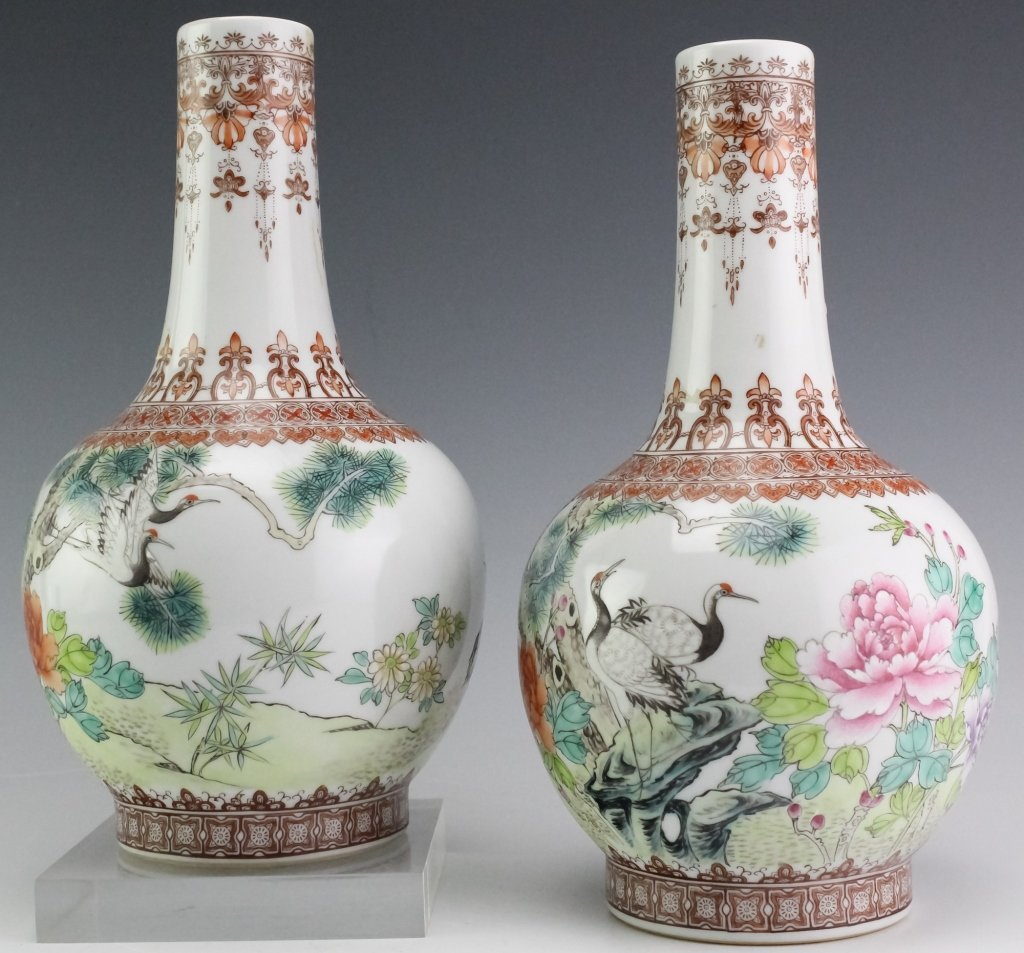Chinese Export PAIR Famille Rose Porcelain Vases - 2