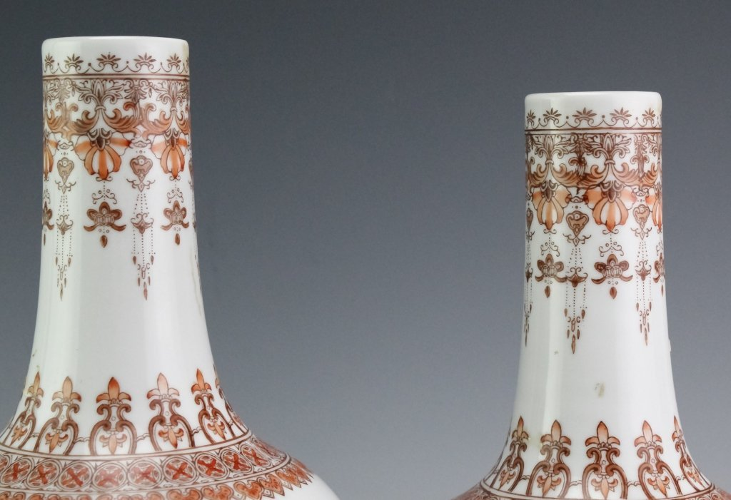 Chinese Export PAIR Famille Rose Porcelain Vases - 4