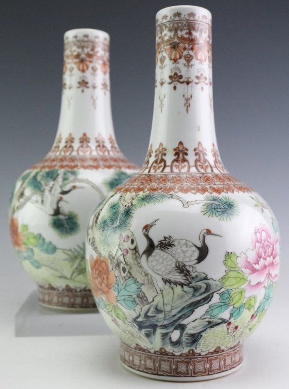 Chinese Export PAIR Famille Rose Porcelain Vases - 5