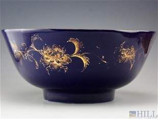 Chinese Export Antique Cobalt Porcelain Punch Bowl