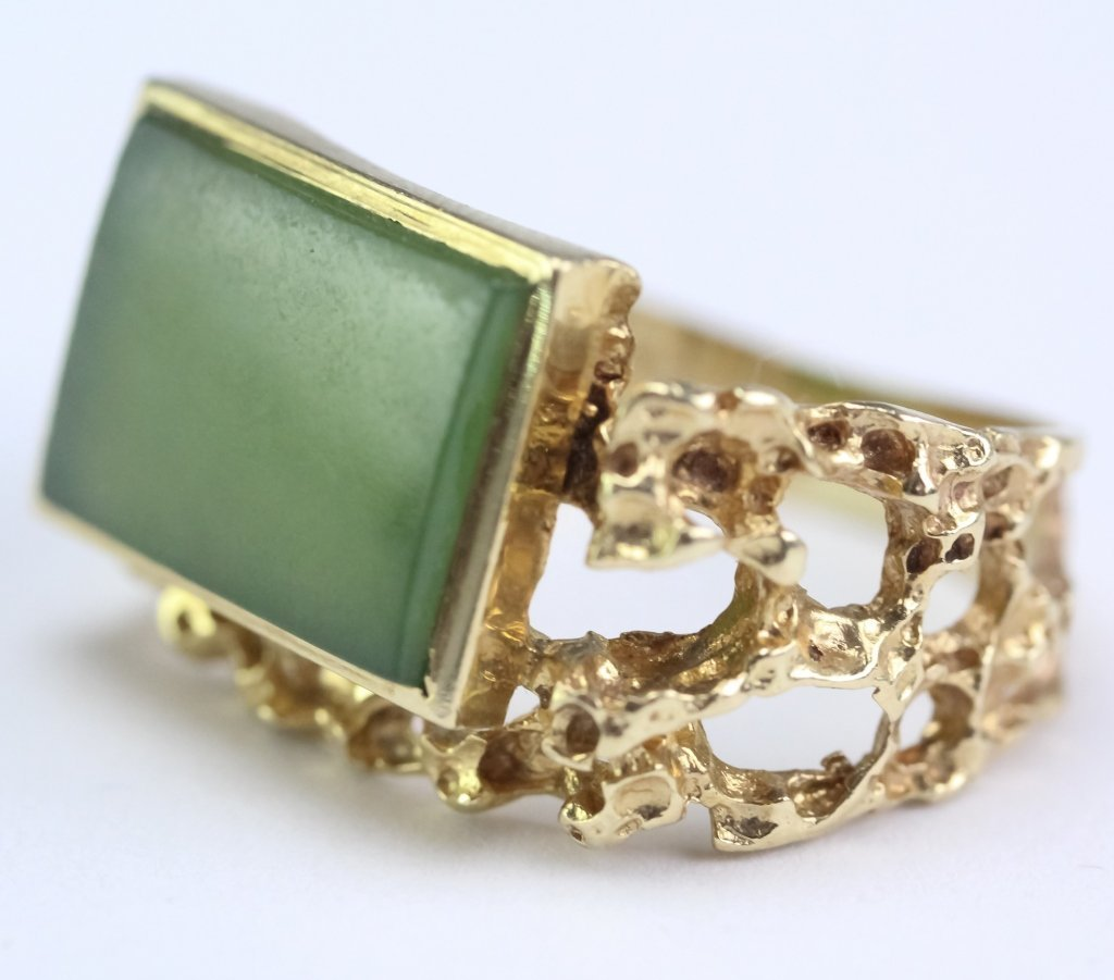 Chinese Green Jade Brutalist 14k Gold Ring Sz 7
