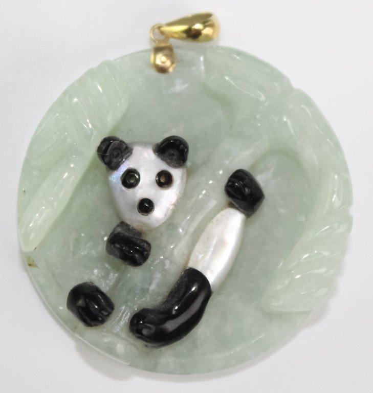Chinese 14k Gold Green Jade Panda Bear Pendant