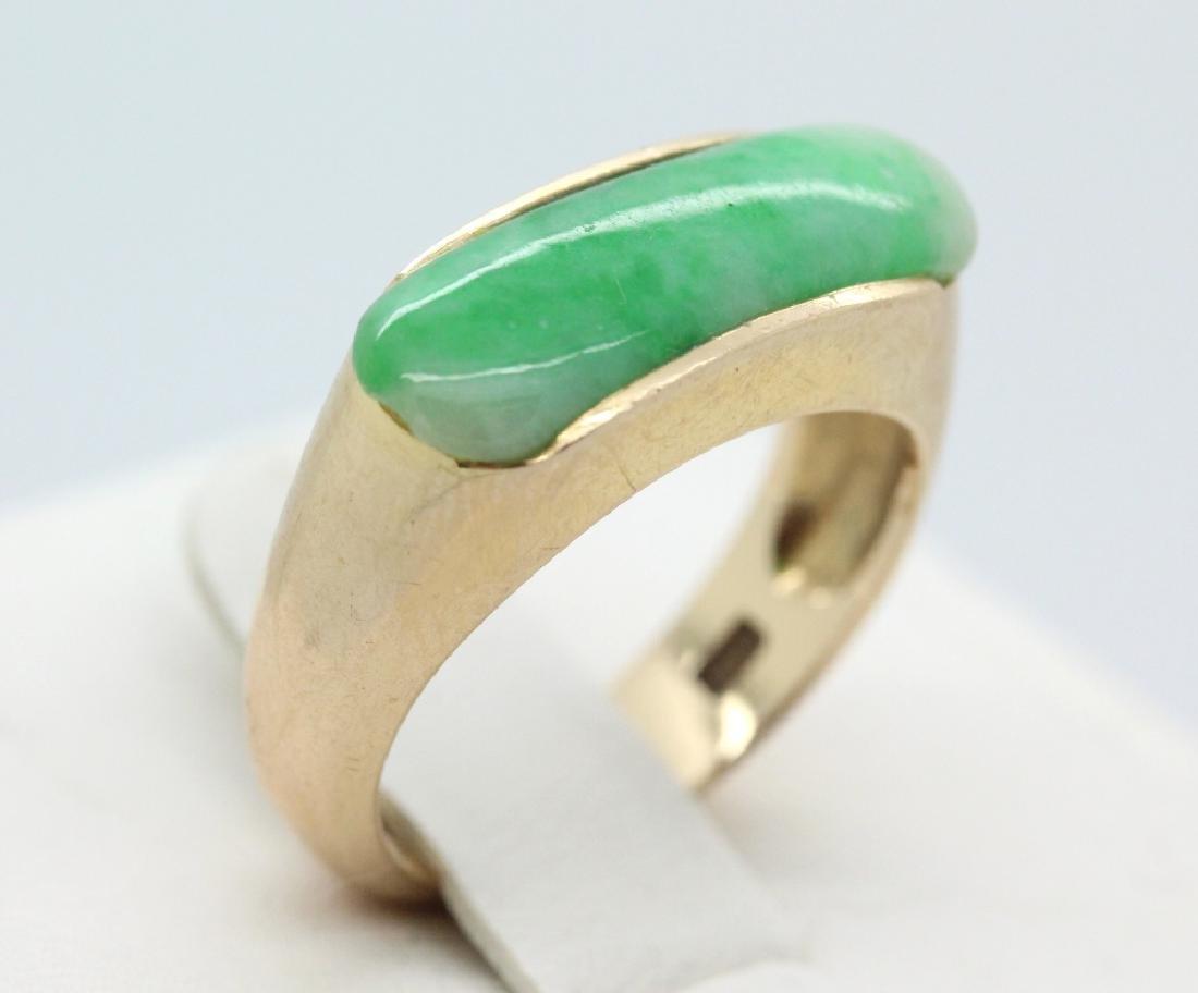 Chinese 14K Gold Green Jadeite Jade Ring Sz 7.5