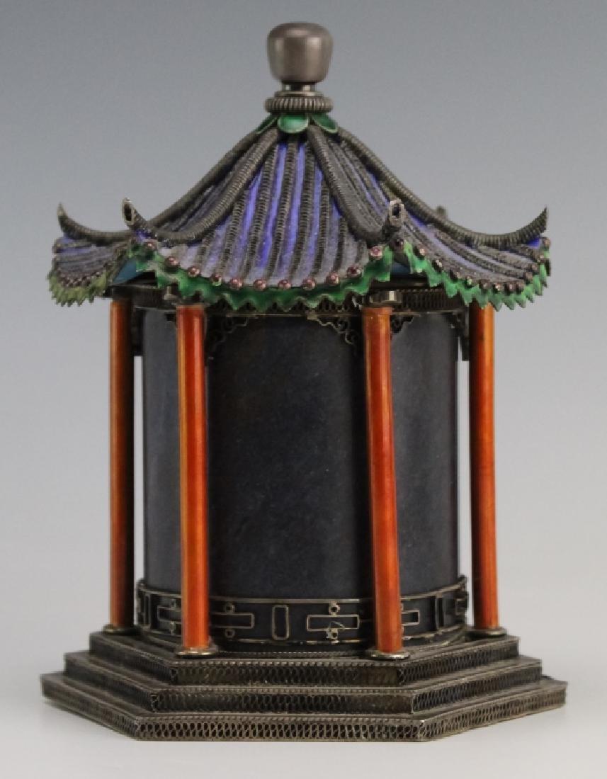 Chinese Silver Enamel Lapis Pagoda Tea Caddy Box