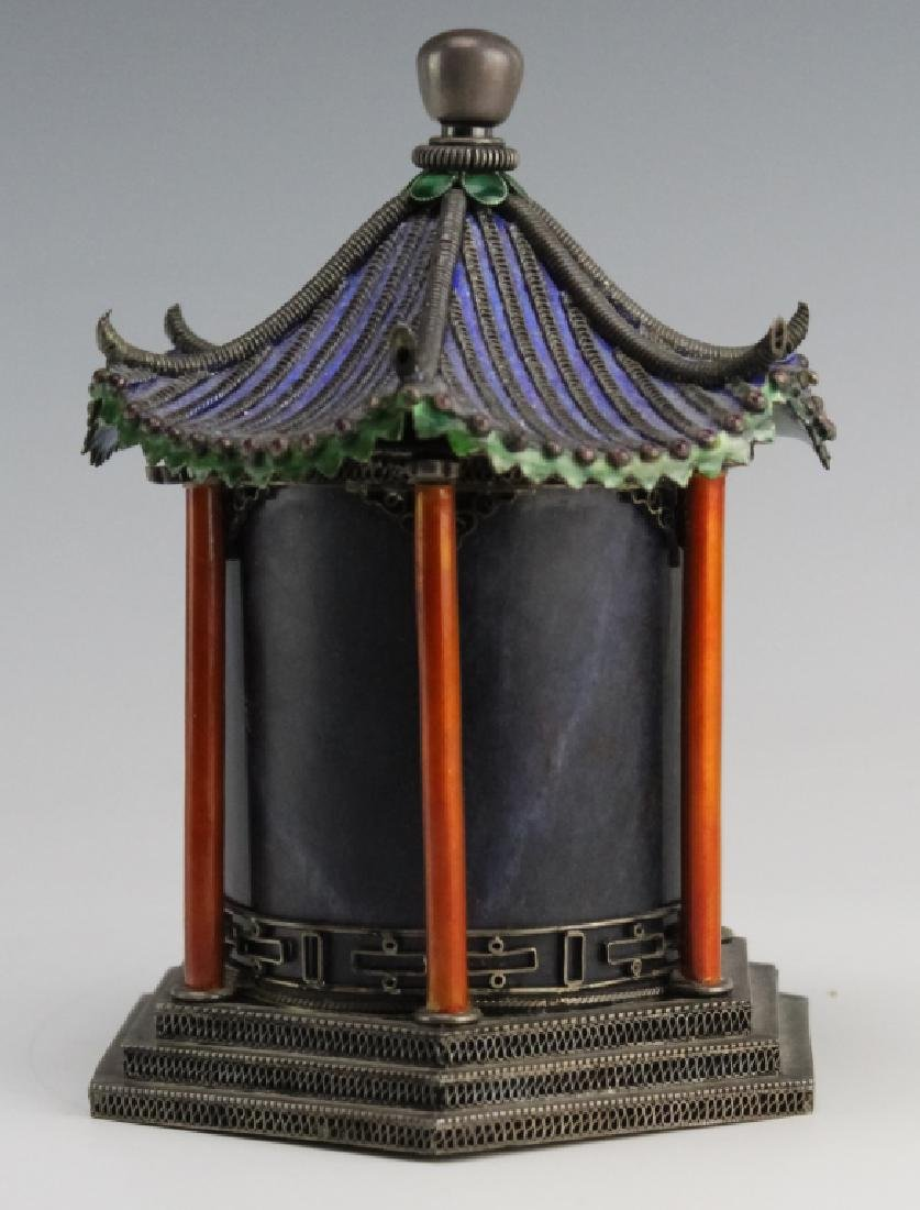 Chinese Silver Enamel Lapis Pagoda Tea Caddy Box - 3