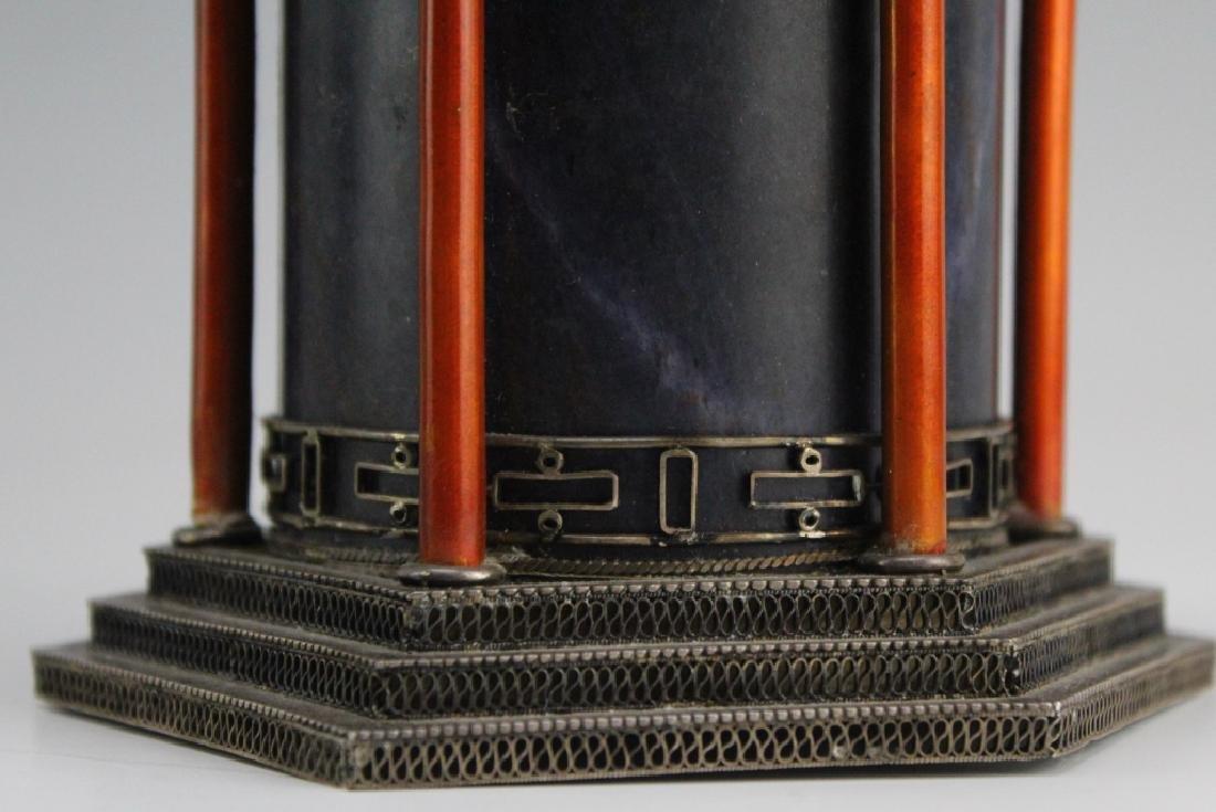 Chinese Silver Enamel Lapis Pagoda Tea Caddy Box - 5