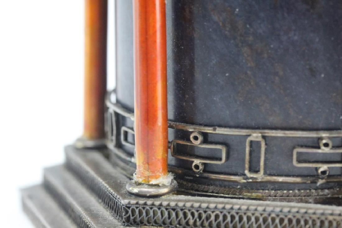 Chinese Silver Enamel Lapis Pagoda Tea Caddy Box - 9
