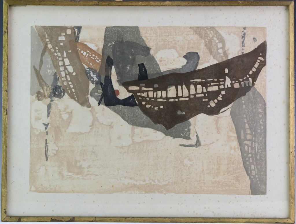 Japanese Rikio Takahashi Modernist Woodblock Print
