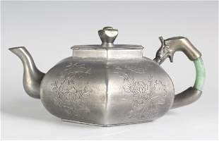 Chinese Export Old Jade Handle Pewter Pot Teapot