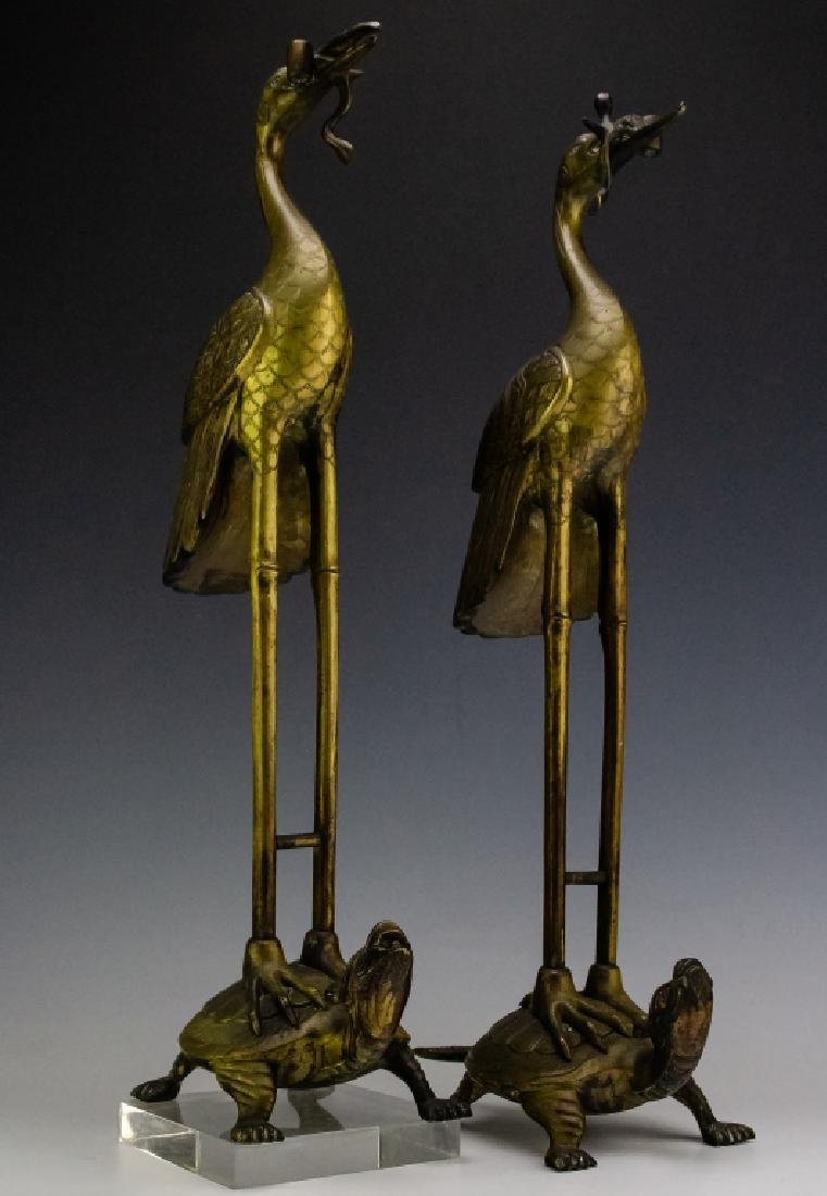 Chinese Export PAIR Brass Crane on Turtle Statue
