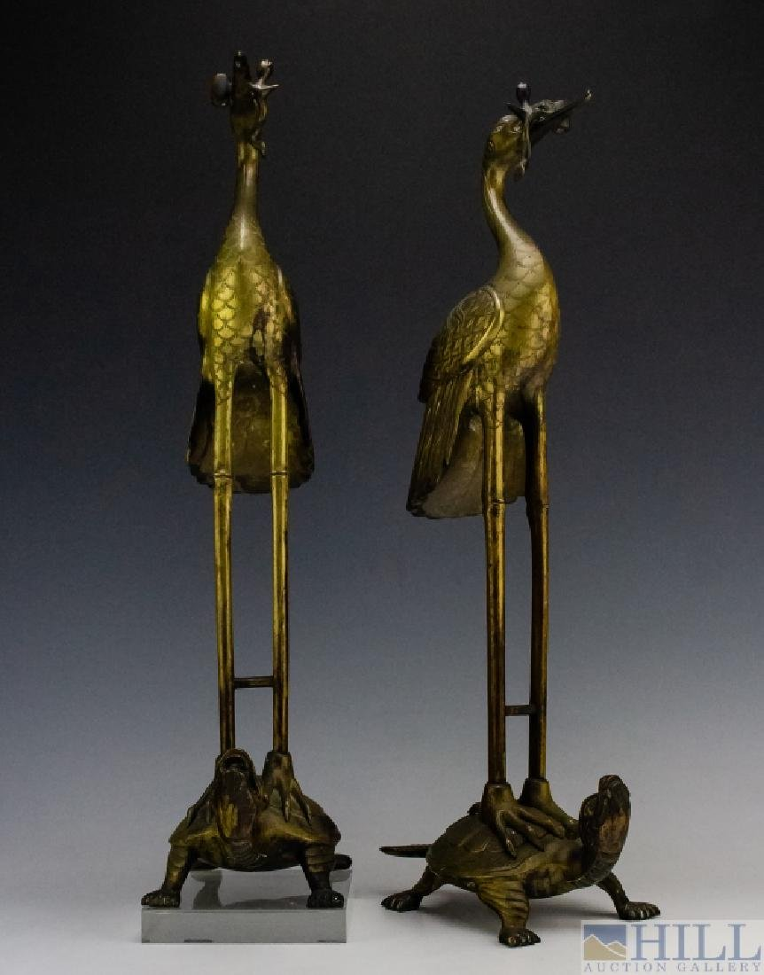 Chinese Export PAIR Brass Crane on Turtle Statue - 2